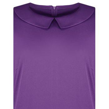 Plus Size Collared A Line Dress with Pockets - PURPLE PURPLE
