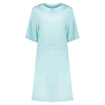 Plus Size Collared A Line Dress with Pockets - LIGHT BLUE LIGHT BLUE