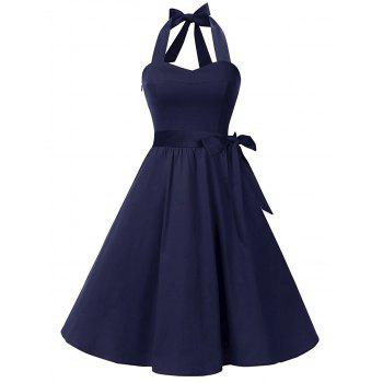 Vintage Halter Lace Up Backless Skater Dress - PURPLISH BLUE S