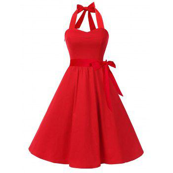 Vintage Halter Lace Up Backless Skater Dress - RED RED