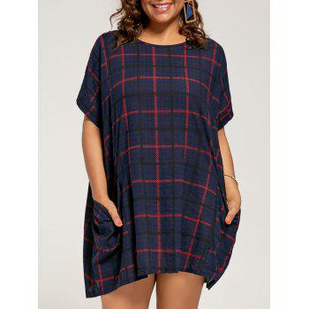 Plus Size Checked Baggy Dress  with Pockets