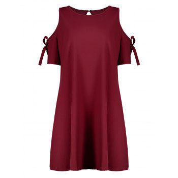 Plus Size Self Tie Open Shoulder Skater Dress - WINE RED 2XL