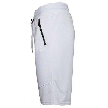 Zip Up Pockets Drawstring Sweat Capri Pants - WHITE WHITE