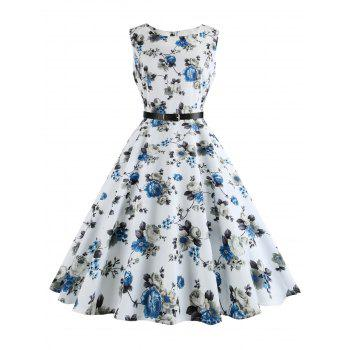 Printed Plus Size Vintage Swing Dress with Belt - WHITE 5XL