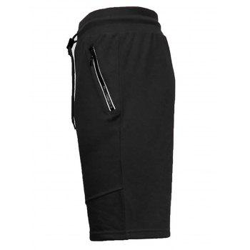 Zip Up Pockets Drawstring Sweat Capri Pants - S S