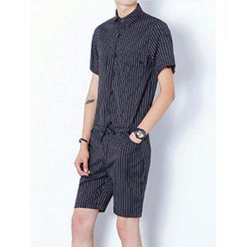 Stried Half Button Up Drawstring Romper - Noir L