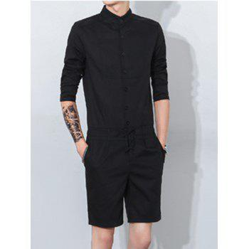 Mandarin Collar Half Button Up Drawstring Romper - BLACK XL