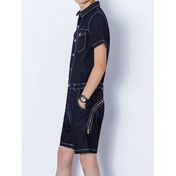 Back Zipper Half Button Up Denim Romper - BLACK M