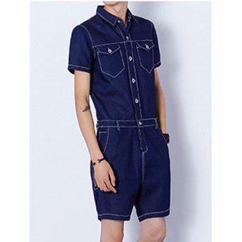 Back Zipper Half Button Up Denim Romper - Bleu Foncé L