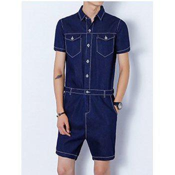 Back Zipper Half Button Up Denim Romper