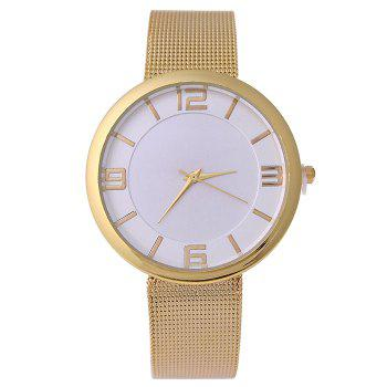 Mesh Alloy Band Number Watch - GOLDEN GOLDEN
