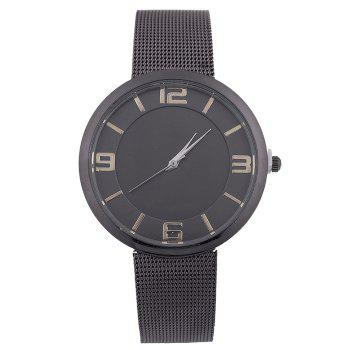 Mesh Alloy Band Number Watch - BLACK BLACK
