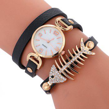 Rhinestone Fishbone Wrap Bracelet Watch