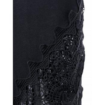 Lace Panel Plunging Sleeveless Maxi Dress - Noir M