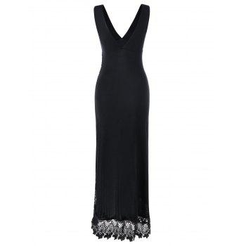 Lace Panel Plunging Sleeveless Maxi Dress - BLACK BLACK