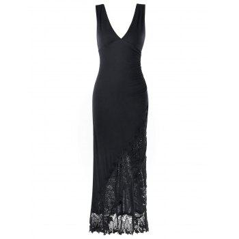 Lace Panel Plunging Sleeveless Maxi Dress - 2XL 2XL