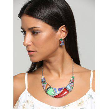 Geometric Splicing Faux Gem Bohemian Necklace Set -  RED/GREEN