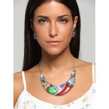 Geometric Splicing Faux Gem Bohemian Necklace Set - RED AND GREEN RED/GREEN