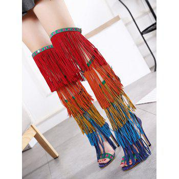 Fringe Zipper Belt Buckle Sandals - FLORAL 37