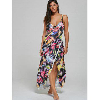 Convertible Feather Print Wrap Sarong Cover-Up Dress - COLORMIX XL