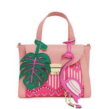 PU Leather Monstera Leaf and Flamingo Handbag