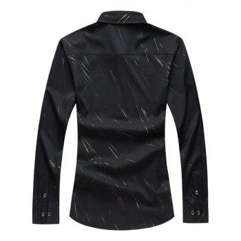Long Sleeve Button Up Casual Shirt - BLACK BLACK