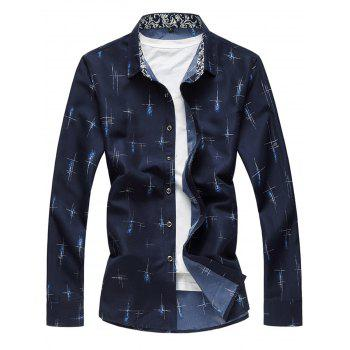 Long Sleeve Crisscross Printed Casual Shirt - CADETBLUE L