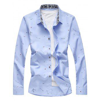 Button Arrow Print Long Sleeve Shirt - LIGHT BLUE LIGHT BLUE