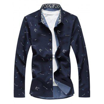 Button Arrow Print Long Sleeve Shirt - CADETBLUE L