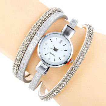 Rhinestoned Faux Leather Bracelet Watch