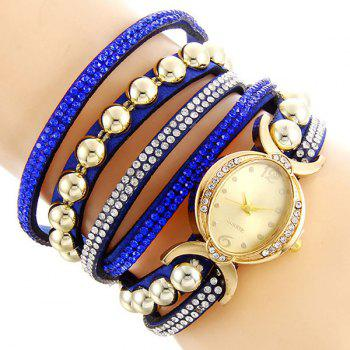 Rhinestone Bead Bracelet Watch