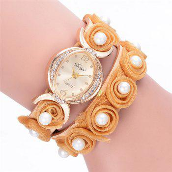 Faux Pearl Flower Bracelet Watch