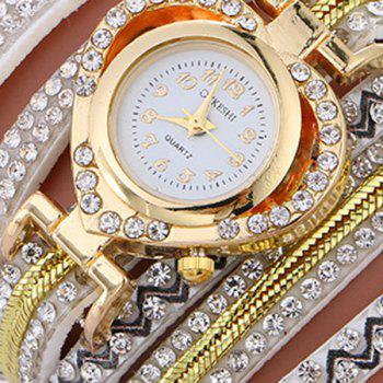Rhinestoned Faux Leather Heart Watch - WHITE