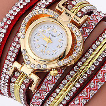 Rhinestoned Faux Leather Heart Watch - RED