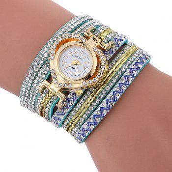 Rhinestoned Faux Leather Heart Watch