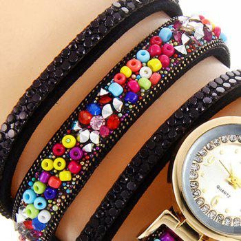 Rhinestone Beaded Bracelet Watch - BLACK