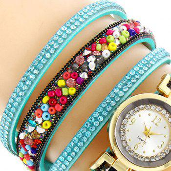 Rhinestone Beaded Bracelet Watch - APPLE SLICE