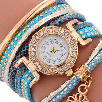 Studed Key Wrap Bracelet Watch - BLUE