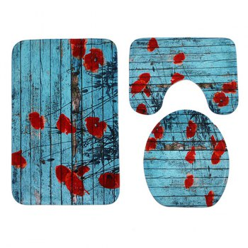 Woodgrain 3Pcs/Set Soft Toilet Cover and Floor Mats - LAKE BLUE