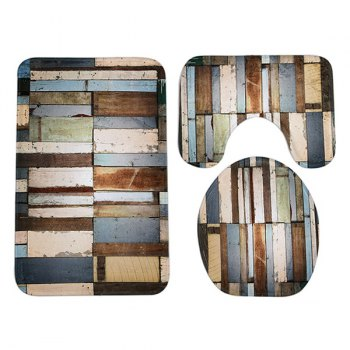 Retro Plank 3Pcs Toilet Lid Cover and Floor Mat Set - COLORMIX