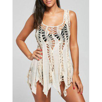 Sleeveless Crochet Handkerchief Tunic Cover Up