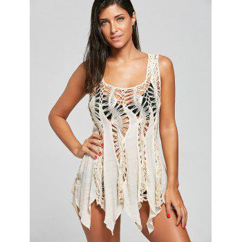 Sleeveless Crochet Handkerchief Tunic Cover Up - LIGHT KHAKI ONE SIZE