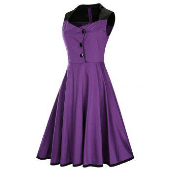 A Line Sleeveless Vintage Plus Size Dress - PURPLE 3XL