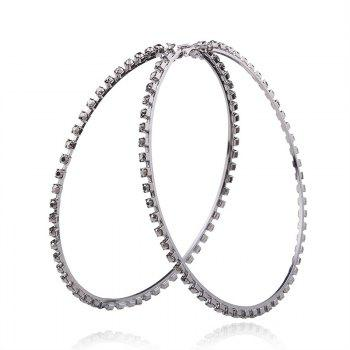 Statement Rhinestoned Circle Hoop Earrings - GUN METAL