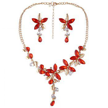 Faux Crystal Flower Necklace with Earring Set