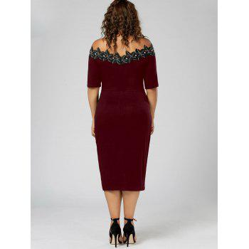 Robe à cravate ajustable en taille Plus - Rouge vineux 5XL