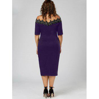 Plus Size Applique Trim Pencil Dress - PURPLE PURPLE