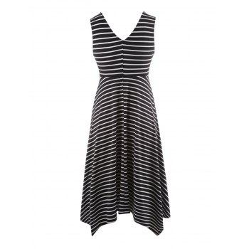 Plus Size V Neck Sleeveless Striped Dress - BLACK 4XL