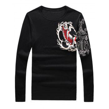 3D Fish and Flower Print Long Sleeve Sweater