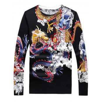 3D Dragons Print Crew Neck Long Sleeve Sweater